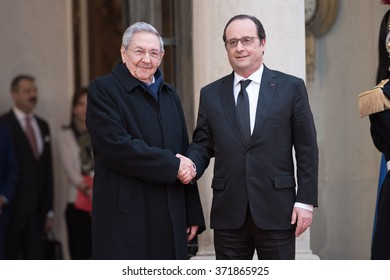 PARIS, FRANCE - FEBRUARY 1, 2016 : The french President Francois Hollande at the Elysee Palace welcoming the President of Cuba Raoul Castro Ruz for the state visit in France of the cuban President.