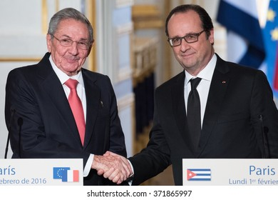 PARIS, FRANCE - FEBRUARY 1, 2016 : The french President Francois Hollande with the President of Cuba Raoul Castro for the state visit in France of the cuban President.