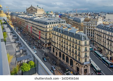 PARIS, FRANCE - FEBRUARY 1, 2019: Panoramic view to central Paris streets and Hausmann architecture from Galleries Lafayette rooftop