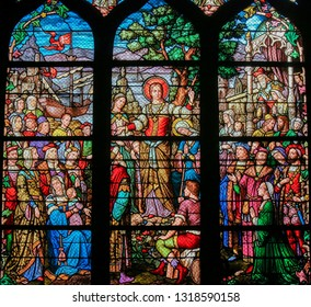 Paris, France - February 10, 2019: Stained Glass in the Church of Saint Severin, Latin Quarter, Paris, France, depicting Mary Magdalene