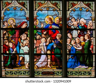 Paris, France - February 10, 2019: Stained Glass in the Church of Saint Severin, Latin Quarter, Paris, depicting Jesus and little children