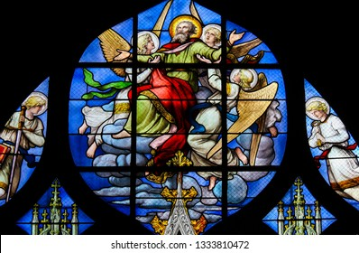 Paris, France - February 10, 2019: Stained Glass in the Church of Saint Severin, Latin Quarter, Paris, France, depicting the Ascension of Saint Peter