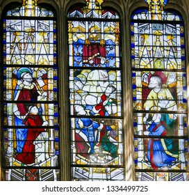 Paris, France - February 10, 2019: Medieval Stained Glass in the Church of Saint Severin, Latin Quarter, Paris, France, depicting Saint Peter and Saint John the Baptist