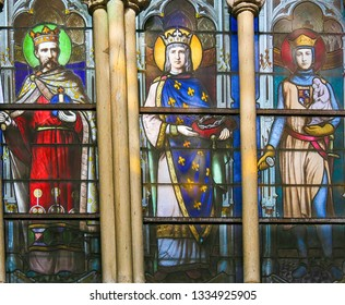 Paris, France - February 10, 2019: Stained Glass in the Church of Saint Severin, Latin Quarter, Paris, France, depicting Catholic Saints