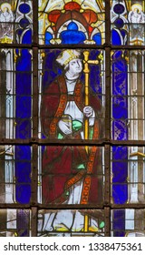 Paris, France - February 10, 2019: Stained Glass in the Church of Saint Severin, Latin Quarter, Paris, France, depicting a Catholic Saint