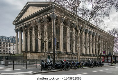 PARIS, FRANCE - February 10, 2020. The Madeleine Church is located on the Place de la Madeleine in the 8th arrondissement of Paris. construction from 1763 to 1842. Neoclassical architecture.