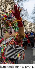 Paris, France - February 11,2018: Street portrait of a disguised person during the Carnaval de Paris 2018.