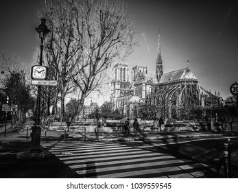 Paris / France - February 16th 2018: View of Notre Dame