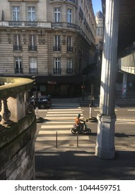 Paris, France / February 18th 2018: Driving people on the crossing path