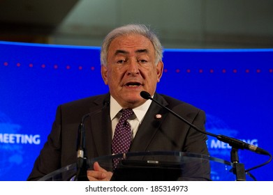 PARIS, FRANCE - FEBRUARY 19, 2011 : Dominique Strauss-Kahn in Press conference at the Ministry of Economy during G20 finances in Paris.