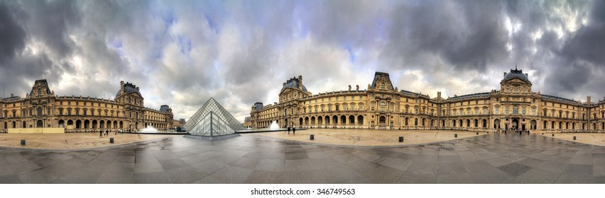 PARIS, FRANCE - FEBRUARY 19, 2014: Beautiful 360 degree view of the Louvre museum in Paris, France, on February 19, 2014