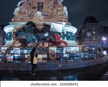 Paris , France, February 2015; Place de la Republique, this is the period after the terrorist attacks where the city is still in shock and mourning