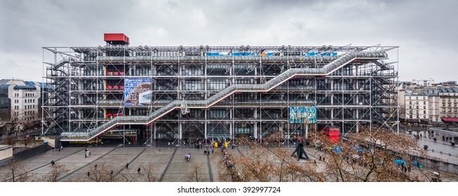 PARIS, FRANCE - FEBRUARY 2016: Image of the Centre Georges Pompidou on February 13th 2016 in Paris, France.