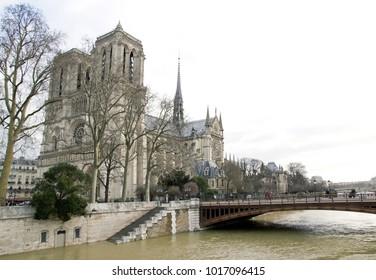 Paris, France, february 2018:  The floods of the Seine, Paris France. Floods Paris winter, 2018.
