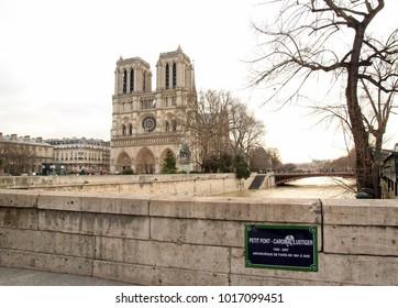 Paris, France - February 2018: The floods of the Seine, Paris France. Floods Paris winter, 2018.