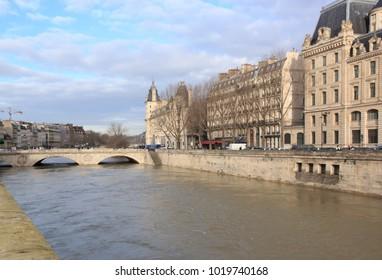 Paris, France -February 2018:  The floods of the Seine, Paris France. Floods Paris winter, 2018.