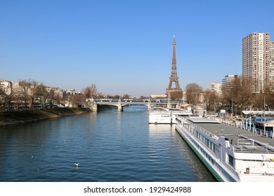 Paris France - February 2021 - View of the Seine River and Eiffel Tower