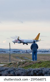 PARIS, FRANCE - FEBRUARY 21, 2015: Pegasus Airlines Boeing 737-82R lands at ORLY Airport (ORY) before a plane spotter. Pegasus is a low cost airline of Turkey.