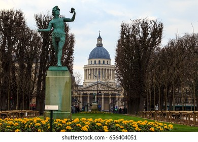 Paris, France - February 24, 2016: View on Pantheon from Luxemburg Garden