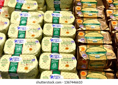 Paris; France - february 24 2019 : Normandie Isigny butter at the Paris International agricultural show, the largest and important one in Europe