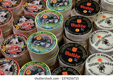 Paris; France - february 24 2019 : Normandie cheese at the Paris International agricultural show, the largest and important one in Europe