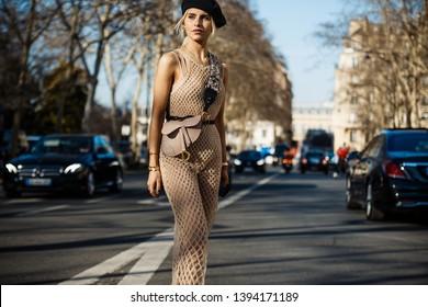 PARIS, FRANCE - FEBRUARY 26, 2019: Caroline Daur after DIOR show, during Paris Fashion Week Womenswear Fall/Winter 2019/2020.