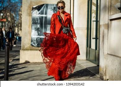 PARIS, FRANCE - FEBRUARY 26, 2019: Nina Suess posing outside DIOR show, during Paris Fashion Week Womenswear Fall/Winter 2019/2020.