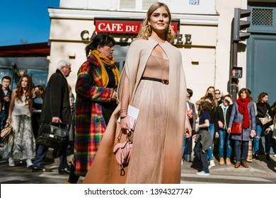 PARIS, FRANCE - FEBRUARY 26, 2019: Valentina Ferragni wears all Dior seen outside DIOR show, during Paris Fashion Week Womenswear Fall/Winter 2019/2020.