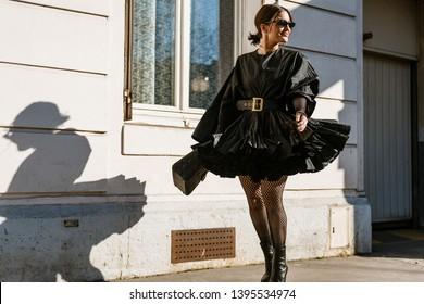 PARIS, FRANCE - FEBRUARY 26, 2019: A guest seen outside DIOR show, during Paris Fashion Week Womenswear Fall/Winter 2019/2020.