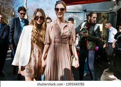 PARIS, FRANCE - FEBRUARY 26, 2019: Supermodel Natalia Vodianova and Kristina Kusakina are seen before DIOR show, during Paris Fashion Week Womenswear Fall/Winter 2019/2020.