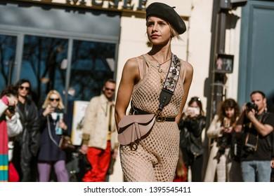 PARIS, FRANCE - FEBRUARY 26, 2019: Caroline Daur arrived to the DIOR show, during Paris Fashion Week Womenswear Fall/Winter 2019/2020.
