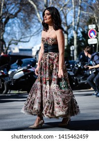 PARIS, France- February 26 2019: Aida Domenech on the street during the Paris Fashion Week.