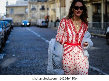 PARIS, France- February 26 2019: Tiany Kiriloff on the street during the Paris Fashion Week.