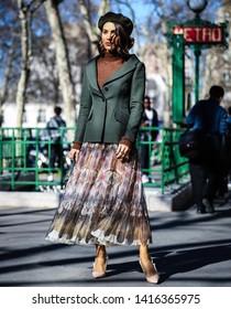 PARIS, France- February 26 2019: Camilla Coelho on the street during the Paris Fashion Week.
