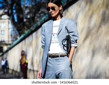 PARIS, France- February 26 2019: Julie Pelipas on the street during the Paris Fashion Week.