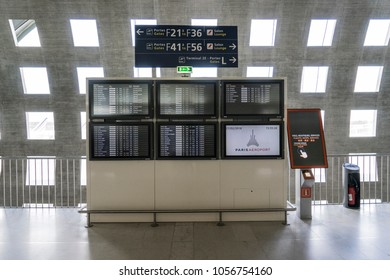 PARIS, FRANCE - February 27, 2018: Timetable of Charles De Gaulle Airport at Terminal 2.