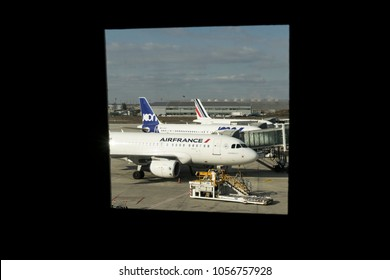 PARIS, FRANCE - February 27, 2018: Air France airplanes on the Charles De Gaulle Airport