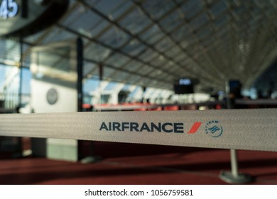 PARIS, FRANCE - February 27, 2018: Interior of Charles De Gaulle Airport