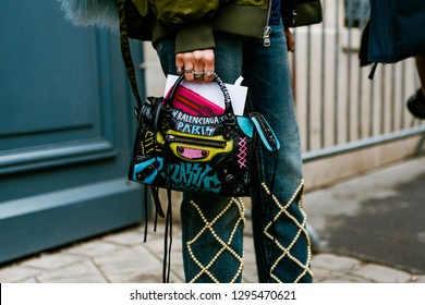PARIS, FRANCE - FEBRUARY 27, 2018: Close up of BALENCIAGA hand bag seen outside Dior show at Paris Fashion Week Womenswear Fall/Winter 2018/2019.
