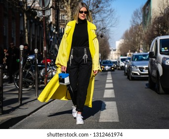 PARIS, France- February 27 2018: Sofie Valkiers on the street during the Paris Fashion Week.