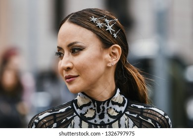 Paris, France - February 27, 2019: Street style appearance during Paris Fashion Week - PFWFW19