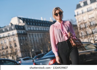 Paris, France - February 27, 2019: Influencer Xenia Adonts before a fashion show during Paris Fashion Week - PFWFW19