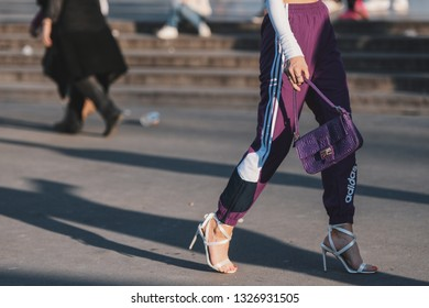 Paris, France - February 27, 2019: Street style - purses in detail during Paris Fashion Week - PFWFW19