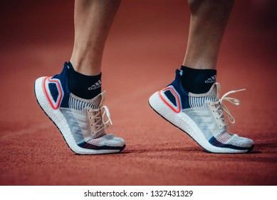 PARIS, FRANCE, – FEBRUARY 27, 2019: Adidas Ultra Boost 19, brand new running and lifestyle shoes 2019.