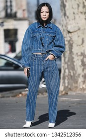 Paris, France -February 27, 2019: Street style outfit -  Yoyo Caobefore a fashion show during Paris Fashion Week - PFWFW19