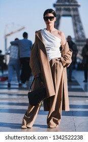 Paris, France -February 27, 2019: Street style outfit -  Aida Domenech before a fashion show during Paris Fashion Week - PFWFW19