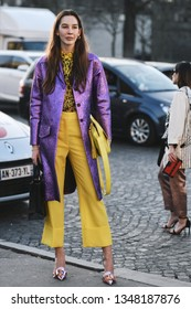 Paris, France - February 27, 2019: Street style outfit -  Fashionable person after a fashion show during Paris Fashion Week - PFWFW19