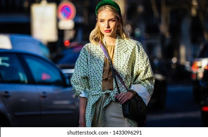 PARIS, France- February 27 2019: Leonie Hanne on the street during the Paris Fashion Week.