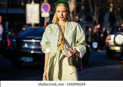 PARIS, France- February 27 2019: Leonie Hanne on the street during the Paris Fashion Week.