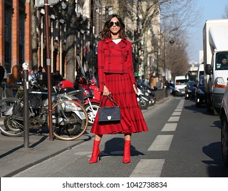 PARIS, France- February 28 2018: Woman on the street during the Paris Fashion Week